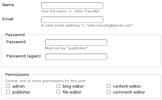 Profile form with layouts